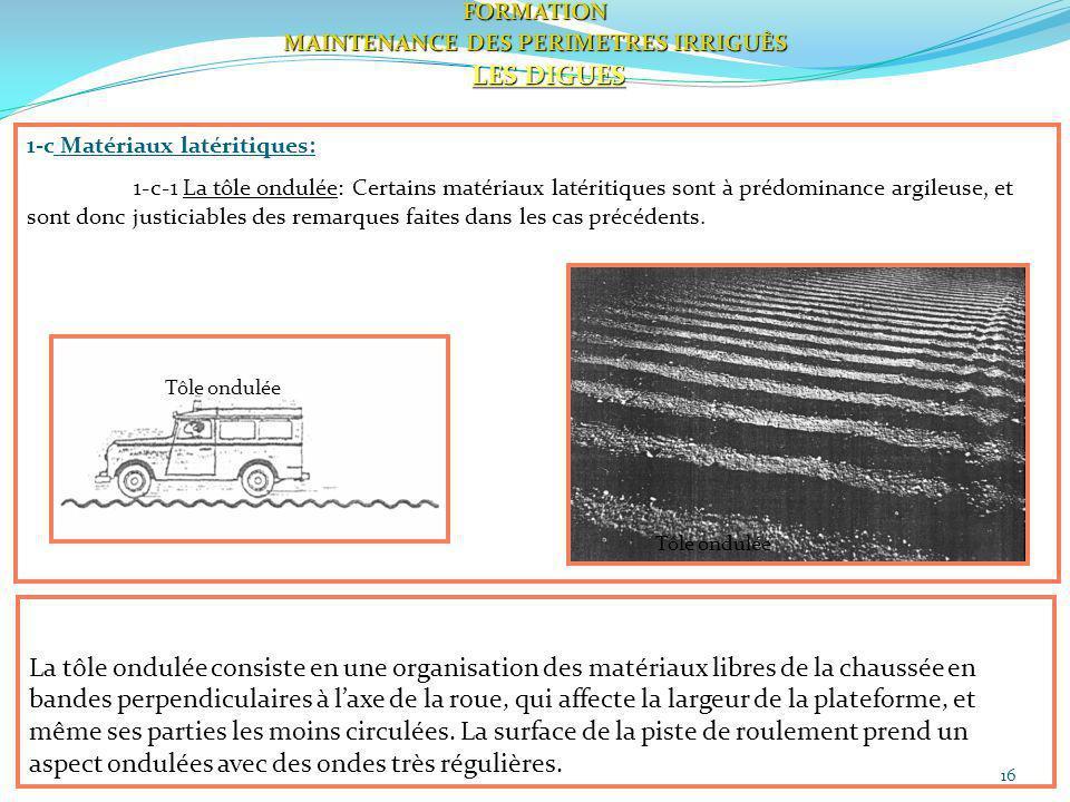 16FORMATION MAINTENANCE DES PERIMETRES IRRIGUÈS LES DIGUES 1-c Matériaux latéritiques: 1-c-1 La tôle ondulée: Certains matériaux latéritiques sont à p