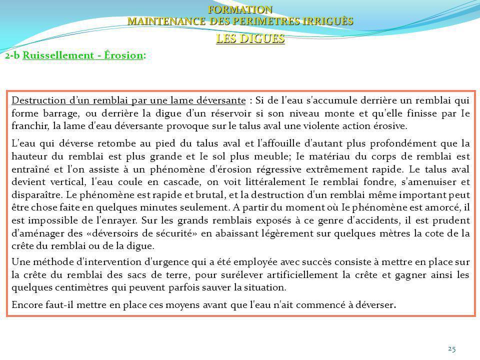 25 FORMATION MAINTENANCE DES PERIMETRES IRRIGUÈS LES DIGUES 2-b Ruissellement - Érosion: Destruction dun remblai par une lame déversante : Si de l'eau