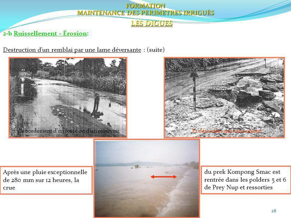 26 FORMATION MAINTENANCE DES PERIMETRES IRRIGUÈS LES DIGUES 2-b Ruissellement - Érosion: Destruction dun remblai par une lame déversante : (suite) Déb