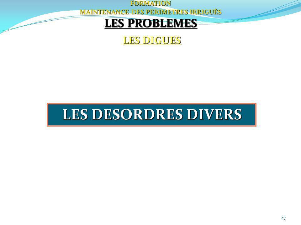27FORMATION MAINTENANCE DES PERIMETRES IRRIGUÈS LES DIGUES LES PROBLEMES LES DESORDRES DIVERS
