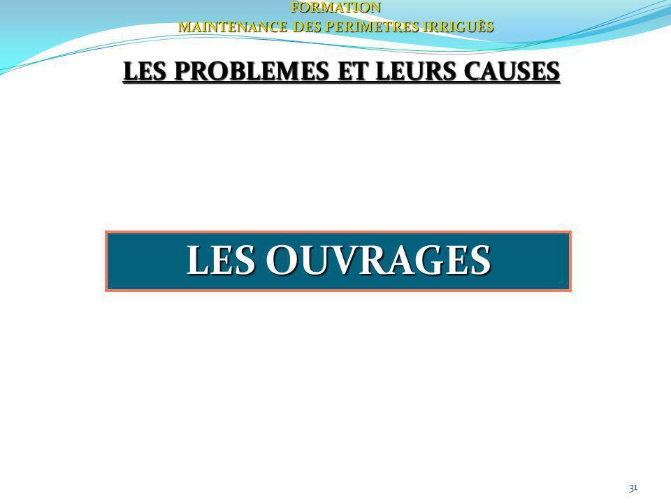 31FORMATION MAINTENANCE DES PERIMETRES IRRIGUÈS LES PROBLEMES ET LEURS CAUSES LES OUVRAGES