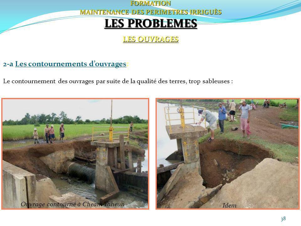 38FORMATION MAINTENANCE DES PERIMETRES IRRIGUÈS LES PROBLEMES LES OUVRAGES 2-a Les contournements douvrages: Le contournement des ouvrages par suite d