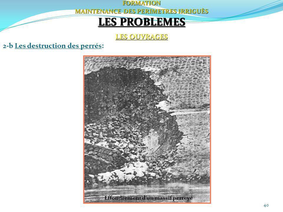 40FORMATION MAINTENANCE DES PERIMETRES IRRIGUÈS LES PROBLEMES LES OUVRAGES 2-b Les destruction des perrés: Effondrement dun massif perreyé