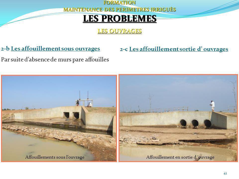 41FORMATION MAINTENANCE DES PERIMETRES IRRIGUÈS LES PROBLEMES LES OUVRAGES 2-b Les affouillement sous ouvrages Par suite dabsence de murs pare affouil
