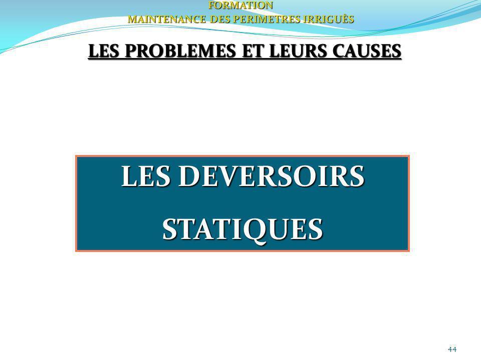 44FORMATION MAINTENANCE DES PERIMETRES IRRIGUÈS LES PROBLEMES ET LEURS CAUSES LES DEVERSOIRS STATIQUES