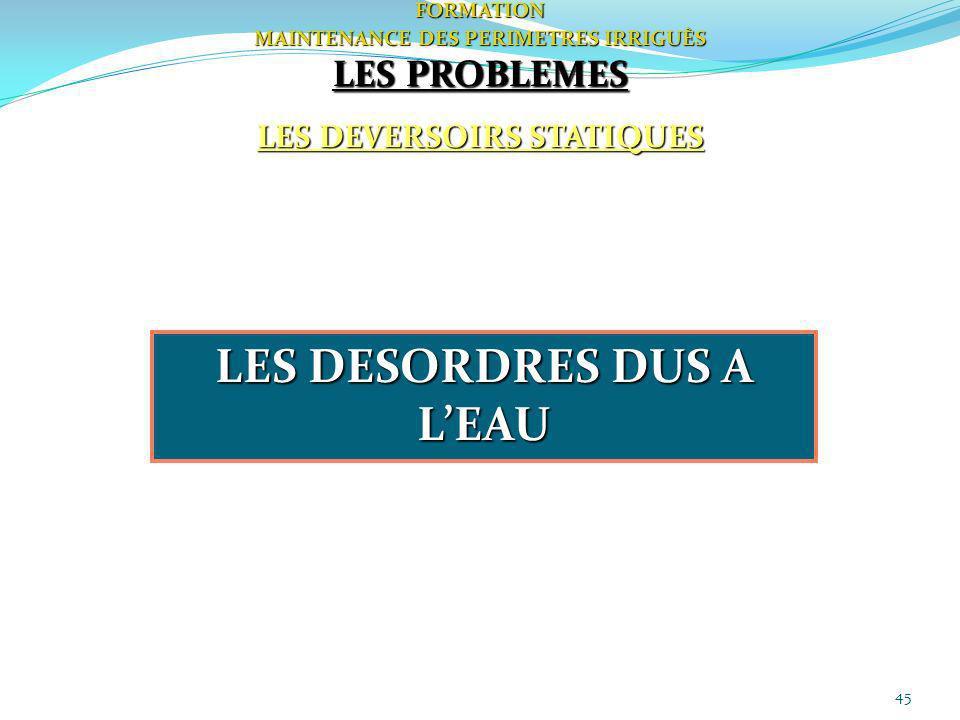45FORMATION MAINTENANCE DES PERIMETRES IRRIGUÈS LES PROBLEMES LES DEVERSOIRS STATIQUES LES DESORDRES DUS A LEAU