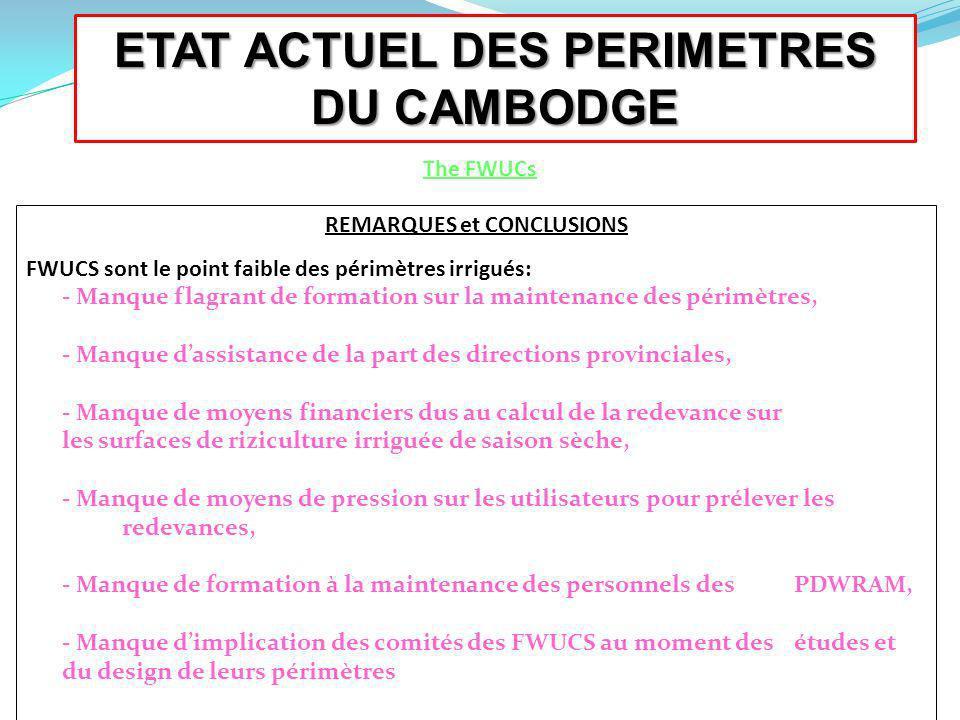 ETAT ACTUEL DES PERIMETRES DU CAMBODGE The FWUCs REMARQUES et CONCLUSIONS FWUCS sont le point faible des périmètres irrigués: - Manque flagrant de for