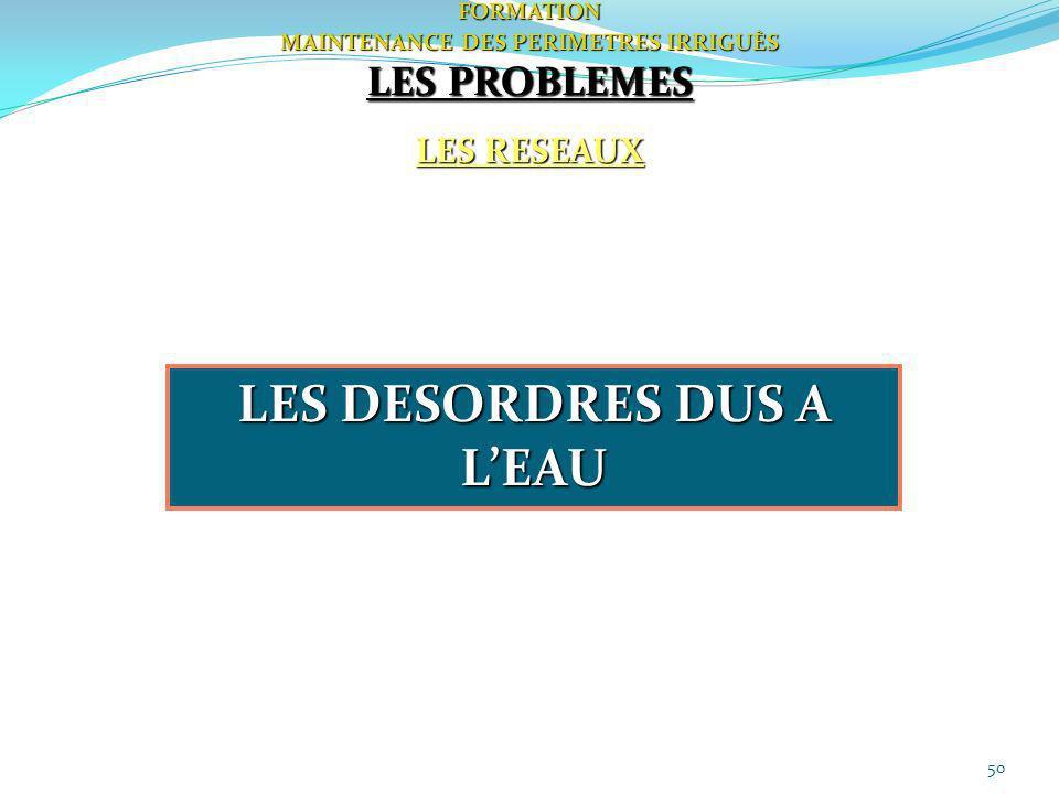 50FORMATION MAINTENANCE DES PERIMETRES IRRIGUÈS LES PROBLEMES LES RESEAUX LES DESORDRES DUS A LEAU