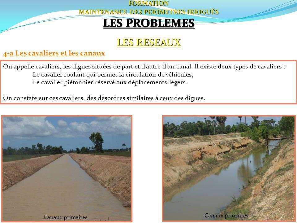 51FORMATION MAINTENANCE DES PERIMETRES IRRIGUÈS LES PROBLEMES LES RESEAUX 4-a Les cavaliers et les canaux On appelle cavaliers, les digues situées de