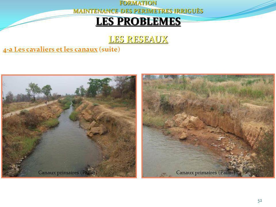 52FORMATION MAINTENANCE DES PERIMETRES IRRIGUÈS LES PROBLEMES LES RESEAUX 4-a Les cavaliers et les canaux (suite) Canaux primaires (Païlin)