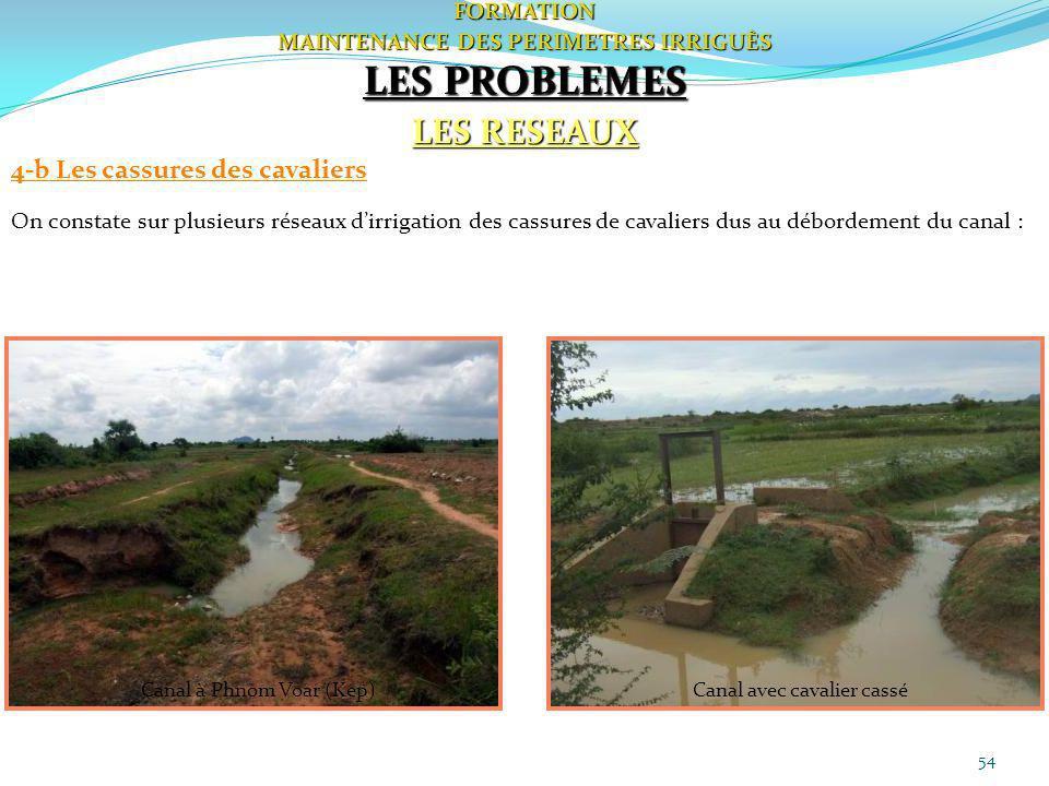 54FORMATION MAINTENANCE DES PERIMETRES IRRIGUÈS LES PROBLEMES LES RESEAUX 4-b Les cassures des cavaliers On constate sur plusieurs réseaux dirrigation