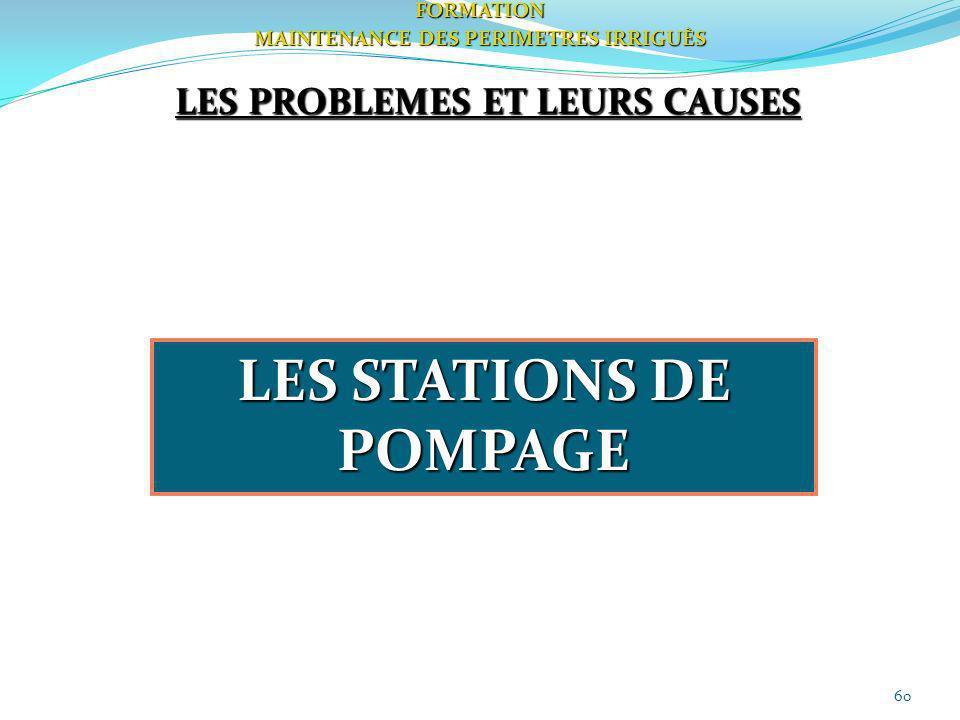60FORMATION MAINTENANCE DES PERIMETRES IRRIGUÈS LES PROBLEMES ET LEURS CAUSES LES STATIONS DE POMPAGE