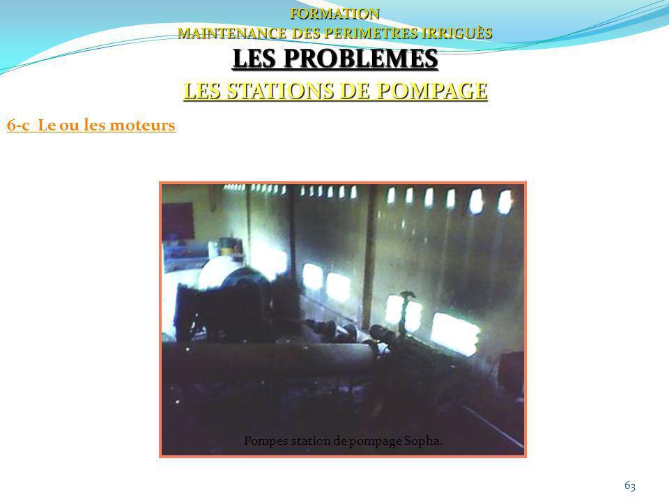 63 FORMATION MAINTENANCE DES PERIMETRES IRRIGUÈS LES PROBLEMES LES STATIONS DE POMPAGE 6-c Le ou les moteurs Pompes station de pompage Sopha.