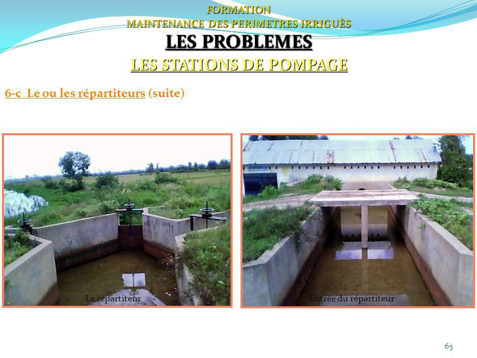 65 FORMATION MAINTENANCE DES PERIMETRES IRRIGUÈS LES PROBLEMES LES STATIONS DE POMPAGE 6-c Le ou les répartiteurs (suite) Le répartiteurEntrée du répa