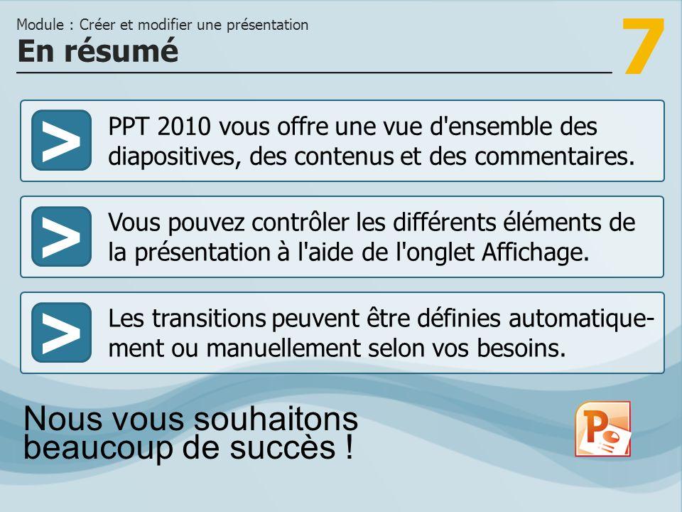 7 >>> PPT 2010 vous offre une vue d'ensemble des diapositives, des contenus et des commentaires. Vous pouvez contrôler les différents éléments de la p