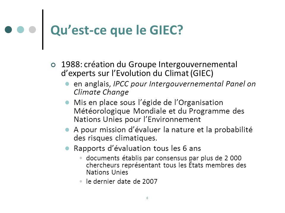 Quest-ce que le GIEC? 1988: création du Groupe Intergouvernemental dexperts sur lEvolution du Climat (GIEC) en anglais, IPCC pour Intergouvernemental
