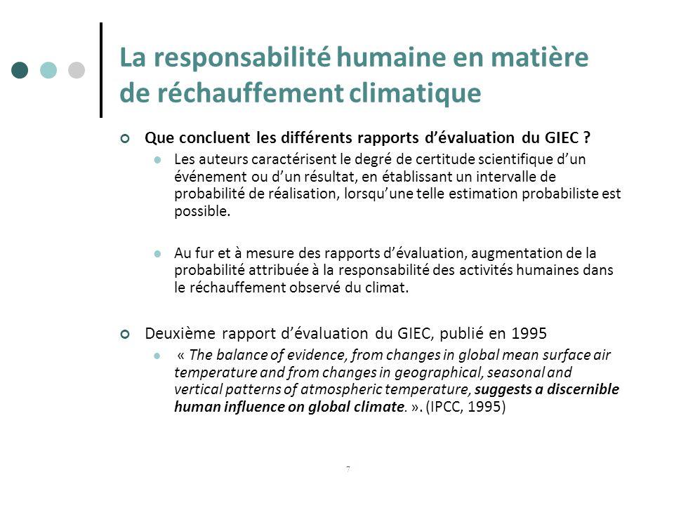 La responsabilité humaine en matière de réchauffement climatique Que concluent les différents rapports dévaluation du GIEC ? Les auteurs caractérisent