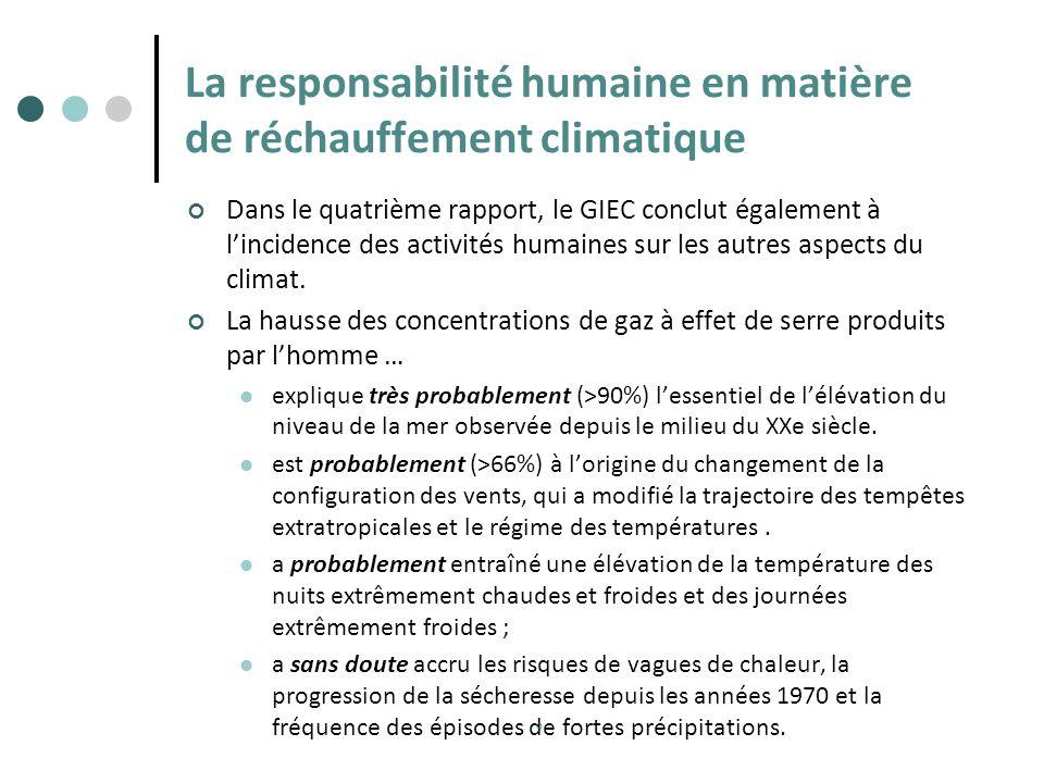 La responsabilité humaine en matière de réchauffement climatique Dans le quatrième rapport, le GIEC conclut également à lincidence des activités humai