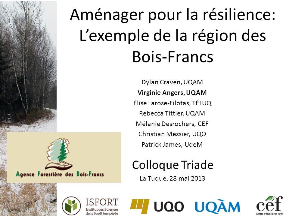 Aménager pour la résilience: Lexemple de la région des Bois-Francs Dylan Craven, UQAM Virginie Angers, UQAM Élise Larose-Filotas, TÉLUQ Rebecca Tittle