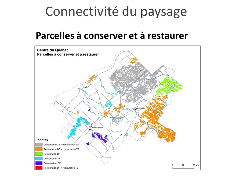 Parcelles à conserver et à restaurer Connectivité du paysage