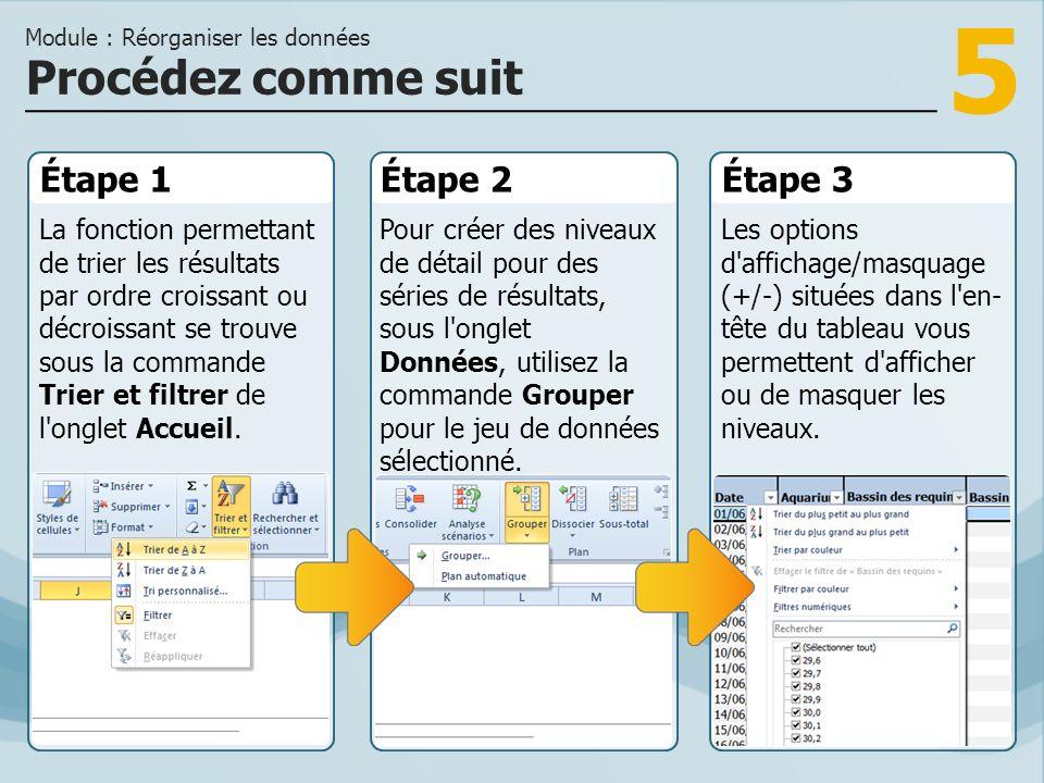 6 Pour créer une présentation interactive de vos résultats, vous pouvez grouper les séries de données pertinentes.