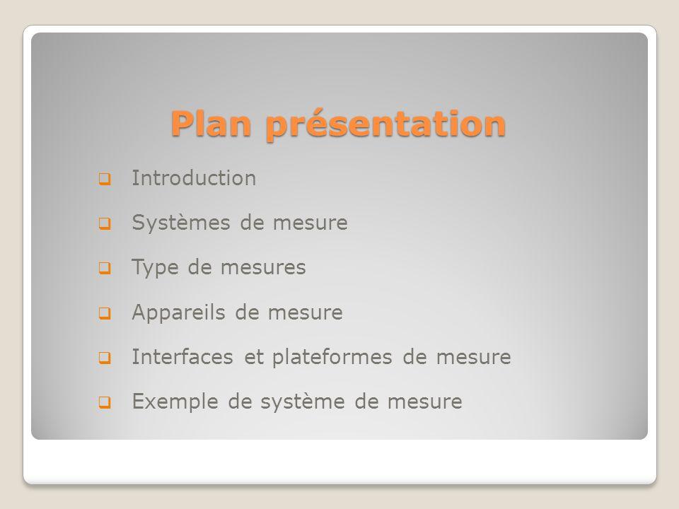 Plan présentation Introduction Systèmes de mesure Type de mesures Appareils de mesure Interfaces et plateformes de mesure Exemple de système de mesure