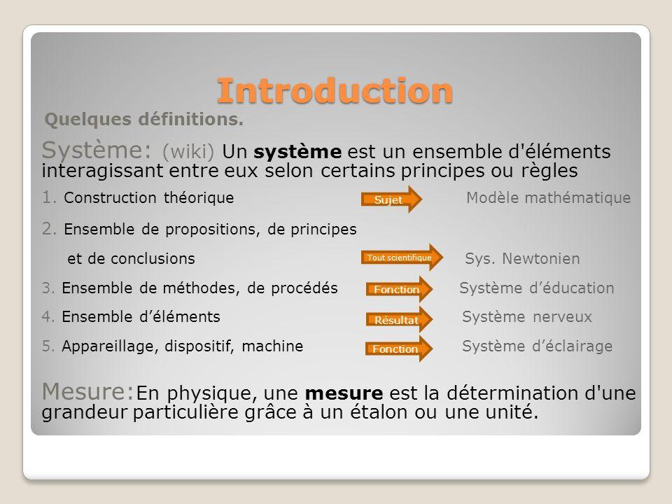 Introduction Quelques définitions. Système: (wiki) Un système est un ensemble d'éléments interagissant entre eux selon certains principes ou règles 1.