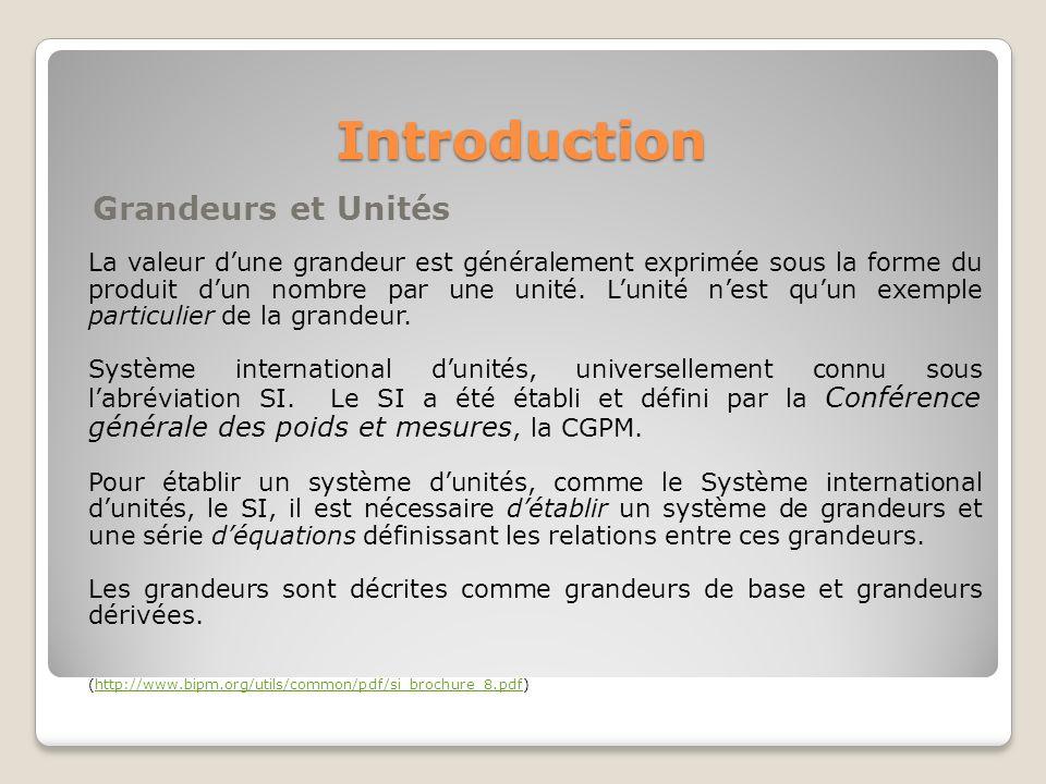 Introduction Grandeurs et Unités La valeur dune grandeur est généralement exprimée sous la forme du produit dun nombre par une unité. Lunité nest quun