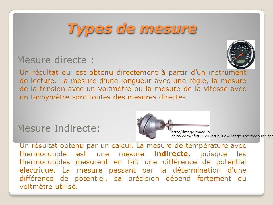 Mesure directe : Mesure Indirecte: Types de mesure Un résultat obtenu par un calcul. La mesure de température avec thermocouple est une mesure indirec