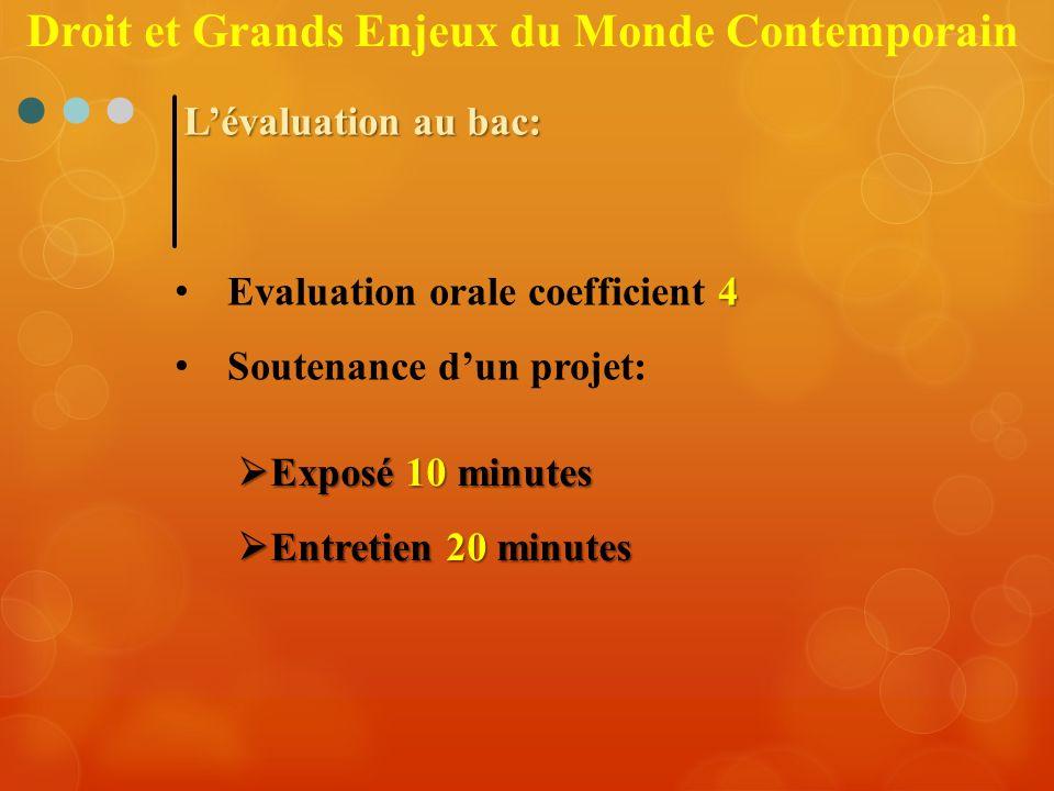 Lévaluation au bac: 4 Evaluation orale coefficient 4 Soutenance dun projet: Exposé 10 minutes Exposé 10 minutes Entretien 20 minutes Entretien 20 minu