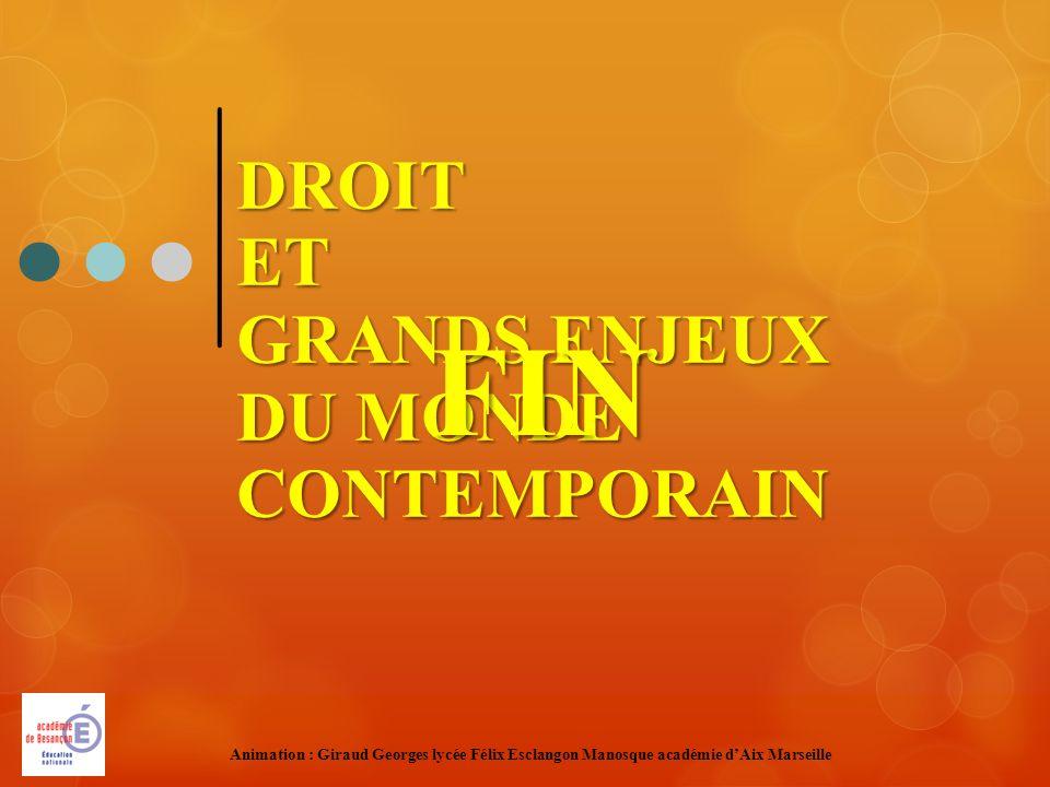 DROITET GRANDS ENJEUX DU MONDE CONTEMPORAIN FIN Animation : Giraud Georges lycée Félix Esclangon Manosque académie dAix Marseille