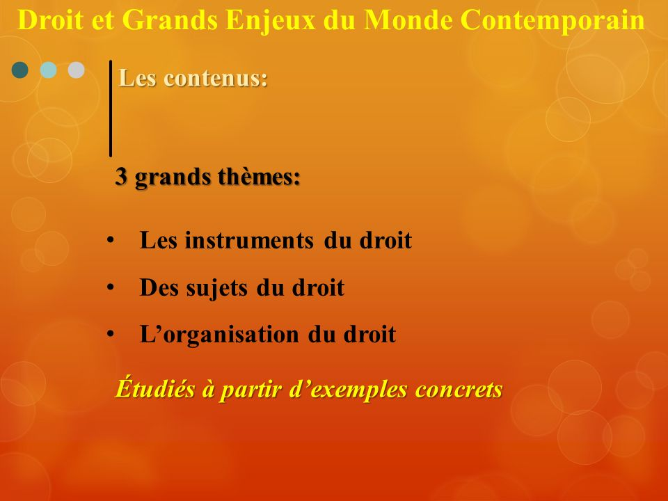 Les contenus: 3 grands thèmes: Les instruments du droit Des sujets du droit Lorganisation du droit Étudiés à partir dexemples concrets Droit et Grands