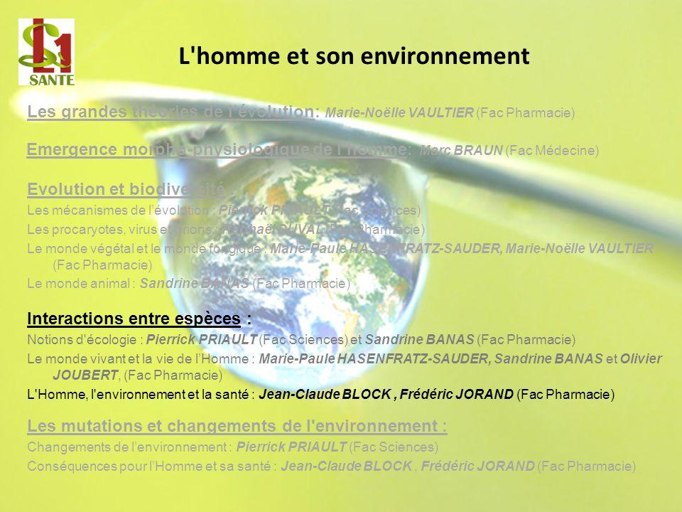 Les grandes théories de lévolution: Marie-Noëlle VAULTIER (Fac Pharmacie) L'homme et son environnement Evolution et biodiversité : Les mécanismes de l