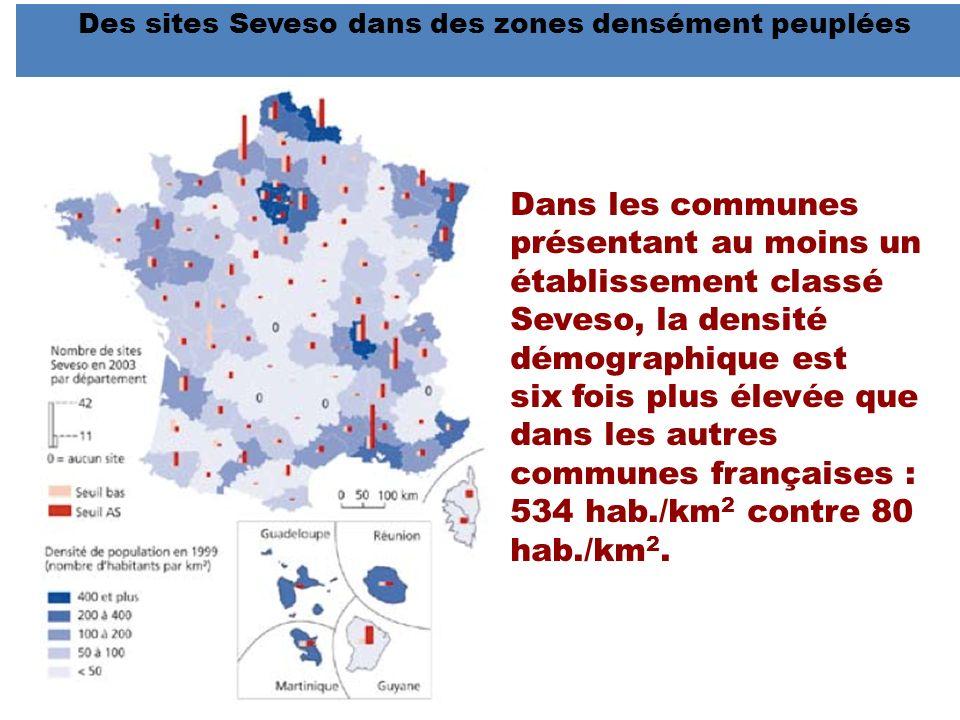 Des sites Seveso dans des zones densément peuplées Dans les communes présentant au moins un établissement classé Seveso, la densité démographique est