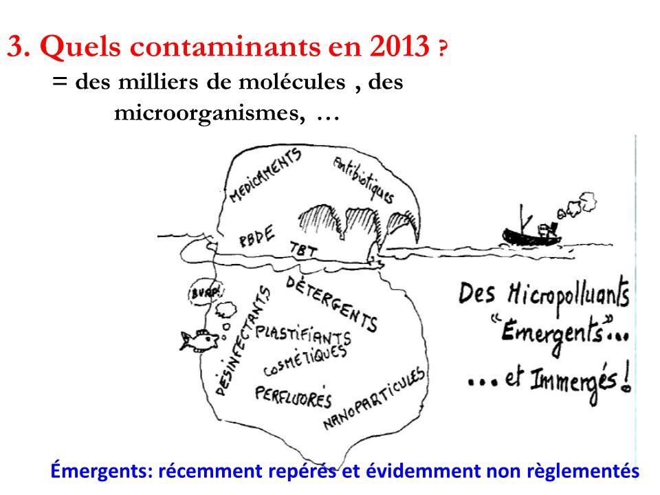 3. Quels contaminants en 2013 ? = des milliers de molécules, des microorganismes, … Substances à action endocrines (SAE) Émergents: récemment repérés