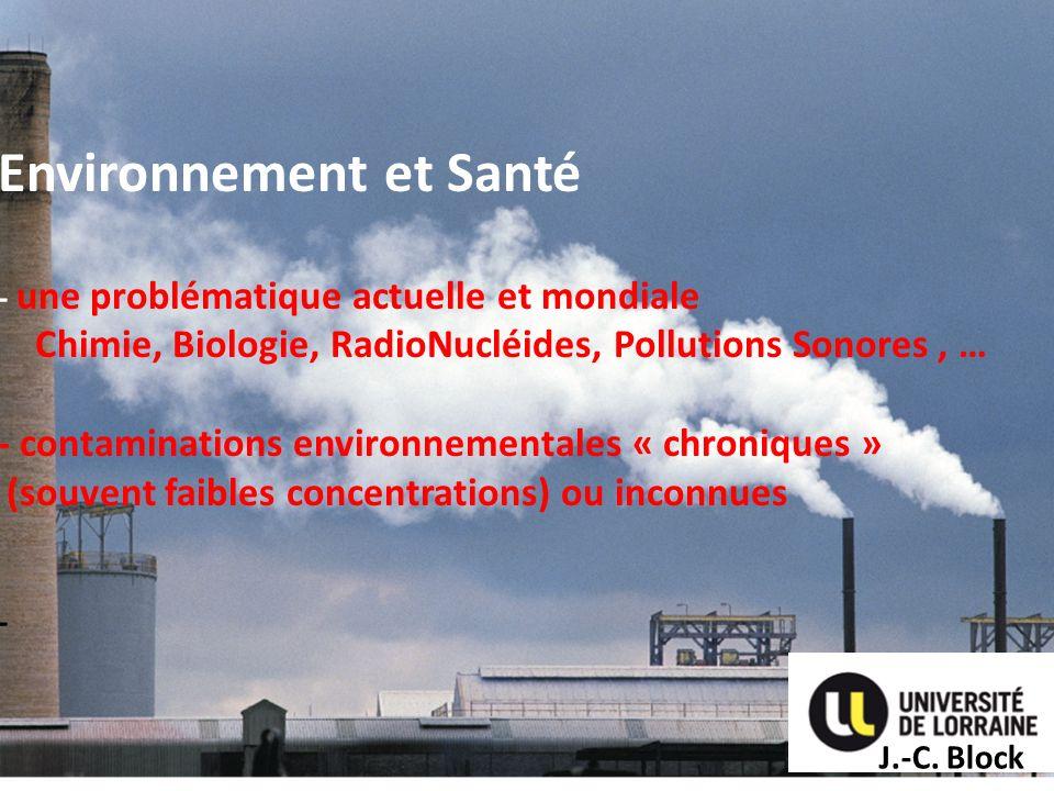 Environnement et Santé - une problématique actuelle et mondiale Chimie, Biologie, RadioNucléides, Pollutions Sonores, … - contaminations environnement
