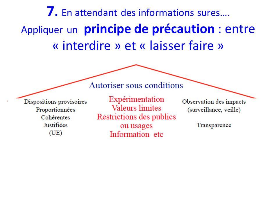 7. En attendant des informations sures…. Appliquer un principe de précaution : entre « interdire » et « laisser faire »