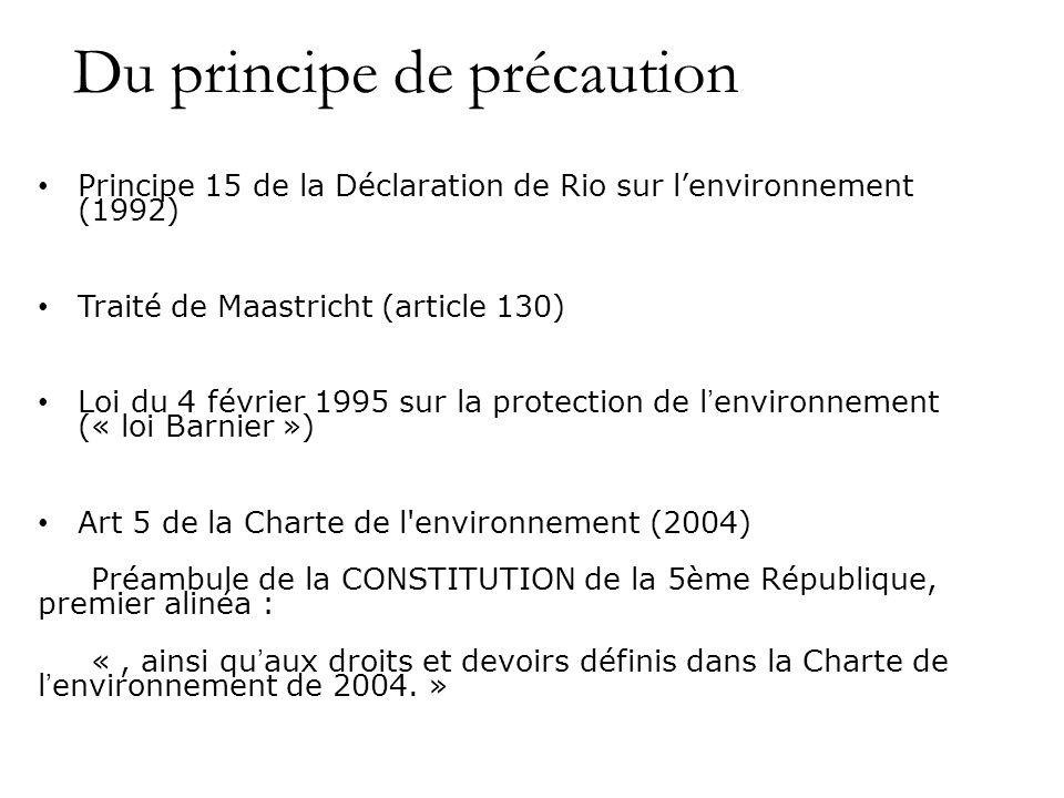 Du principe de précaution Principe 15 de la Déclaration de Rio sur lenvironnement (1992) Traité de Maastricht (article 130) Loi du 4 février 1995 sur