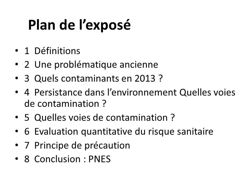 Plan de lexposé 1 Définitions 2 Une problématique ancienne 3 Quels contaminants en 2013 ? 4 Persistance dans lenvironnement Quelles voies de contamina