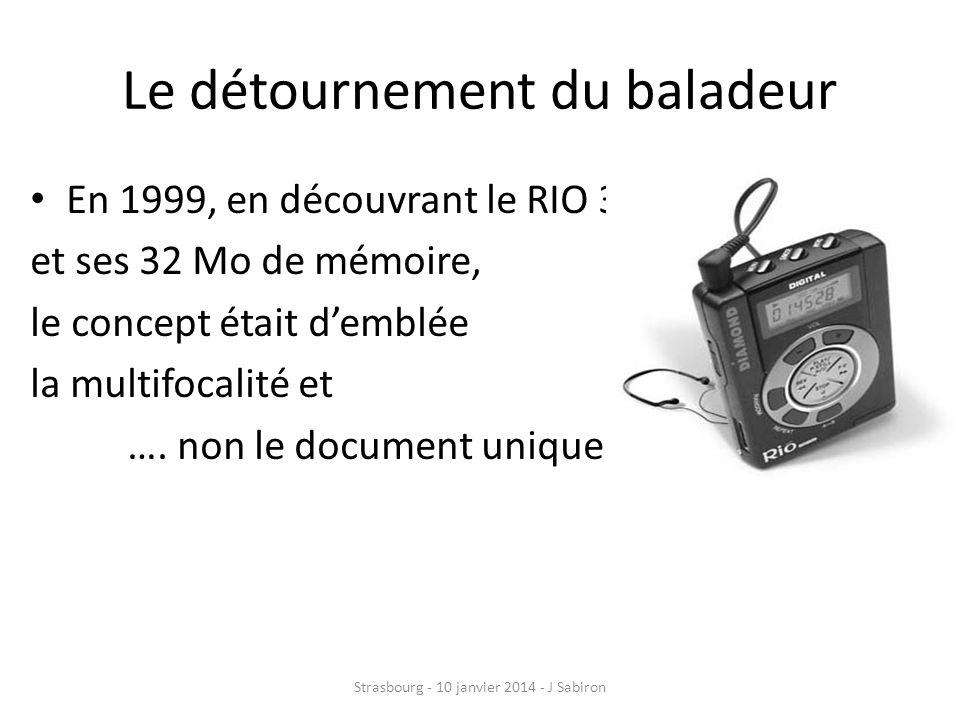 Le détournement du baladeur En 1999, en découvrant le RIO 300 et ses 32 Mo de mémoire, le concept était demblée la multifocalité et …. non le document
