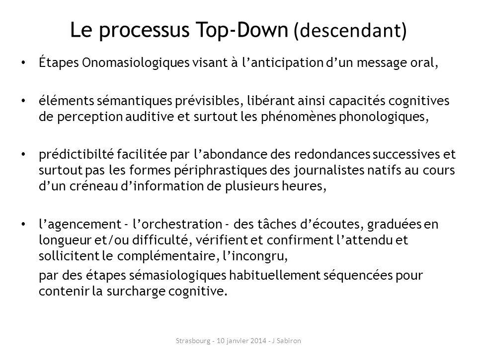 Le processus Top-Down (descendant) Étapes Onomasiologiques visant à lanticipation dun message oral, éléments sémantiques prévisibles, libérant ainsi c