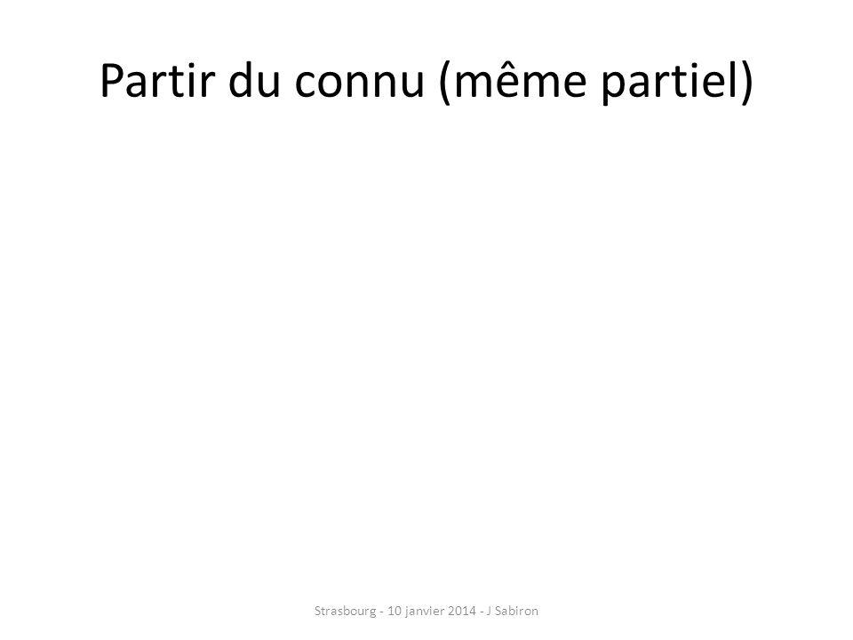 Top-down Processus descendant Du connu vers linconnu Par étapes facilitatrices Strasbourg - 10 janvier 2014 - J Sabiron