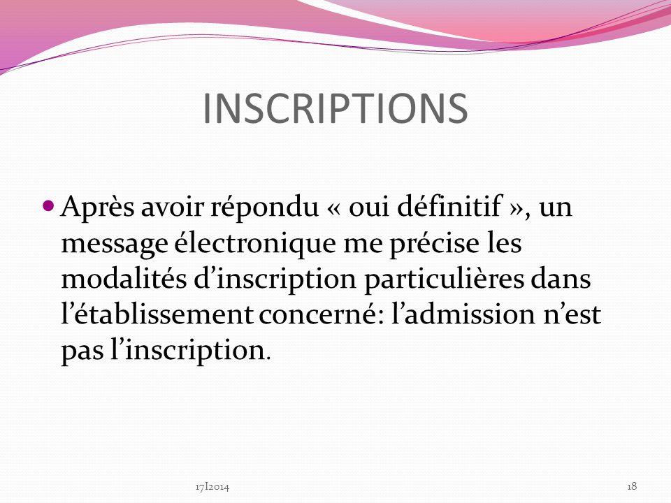 INSCRIPTIONS Après avoir répondu « oui définitif », un message électronique me précise les modalités dinscription particulières dans létablissement concerné: ladmission nest pas linscription.