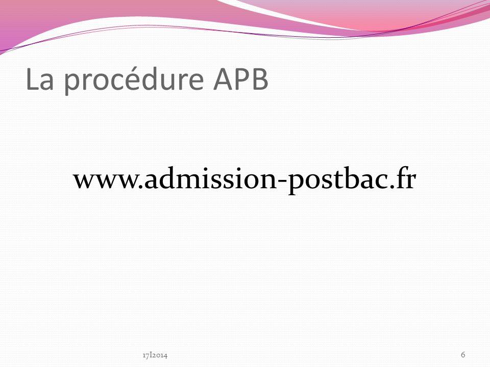 La procédure APB www.admission-postbac.fr 617I2014