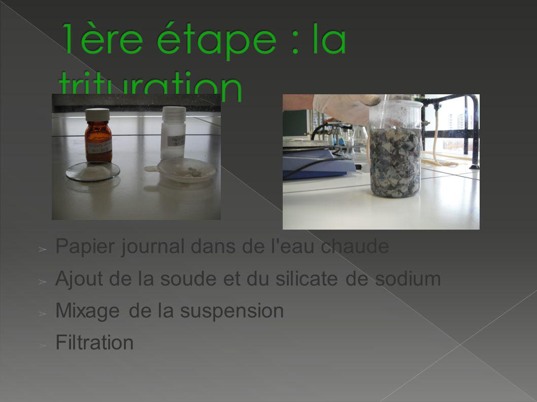 Papier journal dans de l eau chaude Ajout de la soude et du silicate de sodium Mixage de la suspension Filtration