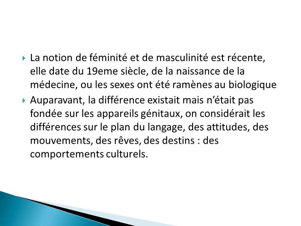 La notion de féminité et de masculinité est récente, elle date du 19eme siècle, de la naissance de la médecine, ou les sexes ont été ramènes au biolog