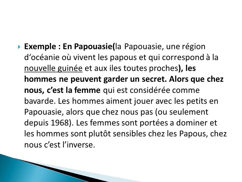 Exemple : En Papouasie(la Papouasie, une région docéanie où vivent les papous et qui correspond à la nouvelle guinée et aux iles toutes proches), les