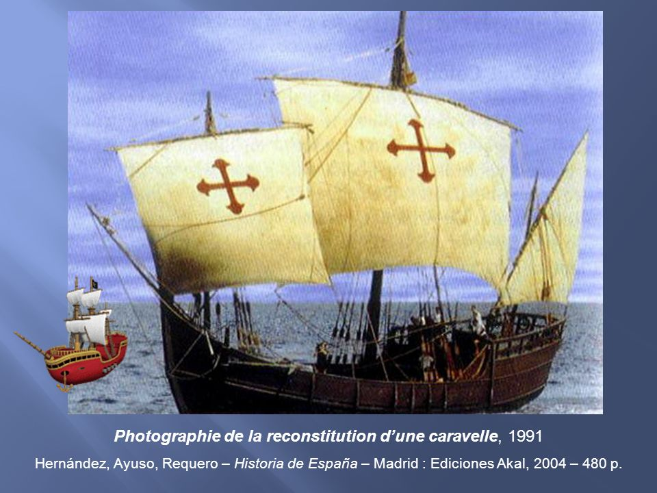 Photographie de la reconstitution dune caravelle, 1991 Hernández, Ayuso, Requero – Historia de España – Madrid : Ediciones Akal, 2004 – 480 p.