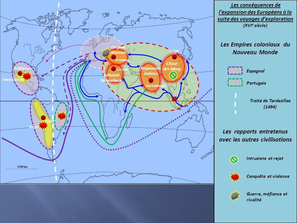 Chine des Ming Royaumes indiens Sultanat Mamelouk Empire Ottoman Incas Aztèques PEKIN CUZCO TENOCHTITLAN ISTANBUL LE CAIRE VIJAYANAGAR Les conséquence