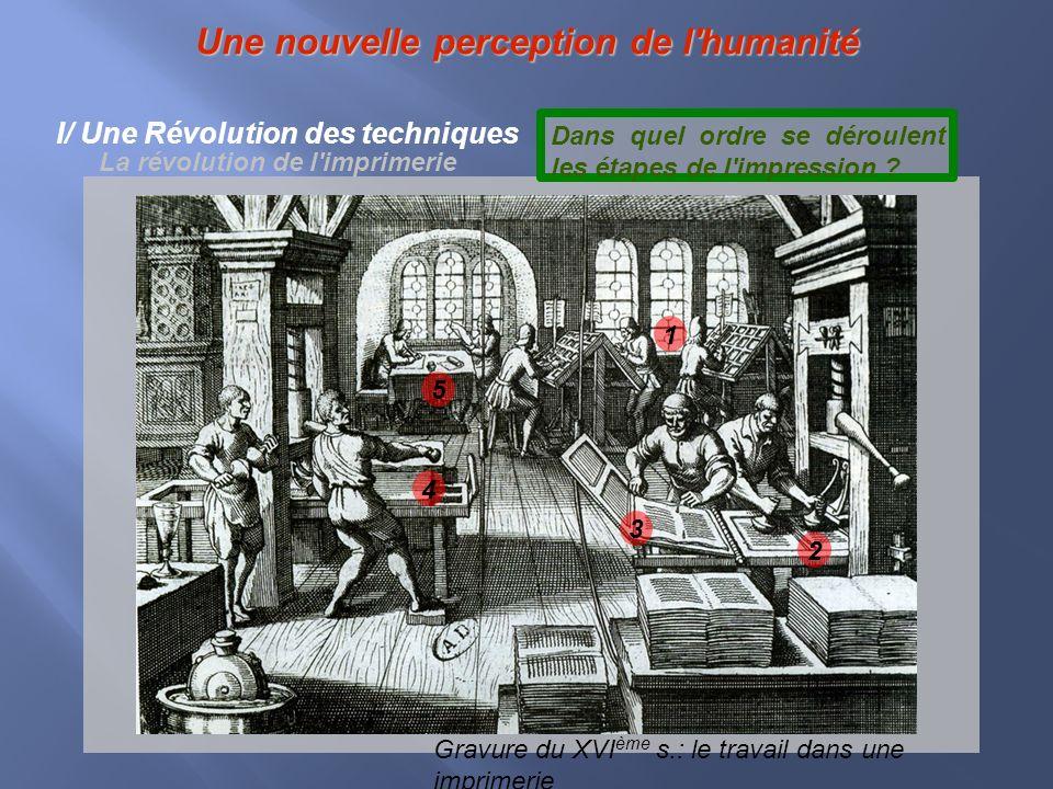 Une nouvelle perception de l'humanité I/ Une Révolution des techniques La révolution de l'imprimerie 1 2 3 4 Gravure du XVI ème s.: le travail dans un